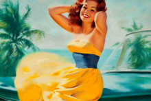 Home decoration vintage sexy pinup models Silk Fabric Poster Print  TS85