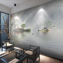 Custom wallpaper new Chinese style mood reflection fresh ink landscape sofa background wall high-grade waterproof material mini tripod wireless bluetooth selfie stick with mirror extendable monopod for iphone x 8 7 6s plus samsung xiaomi z2