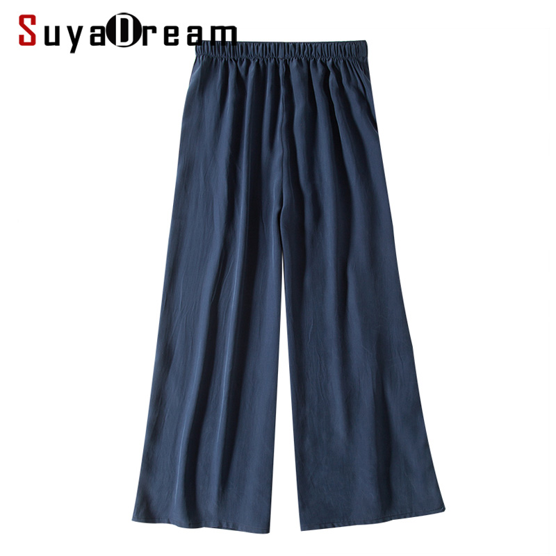 Women   Wide     leg     pants   100% REAL silk Fashion Solid Navy Loose   pants   Elastic Waist under   pants   2018 Fall Winter