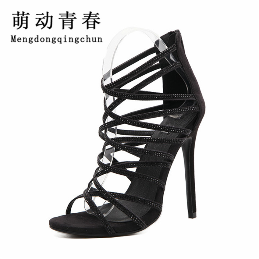 2017 New Summer Sandals Gladiator High Heels Women Sexy  Open  Toe Cross Strap Stilettos Pumps Genova Shoes for Woman купить