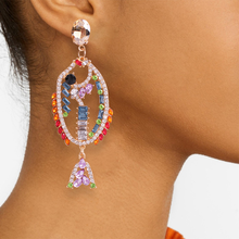 цена на Mermaid Drop Earrings for Women Multicolor Gorgeous Earring Crystal Rhinestone Earrings Anniversary Engagement Jewelry