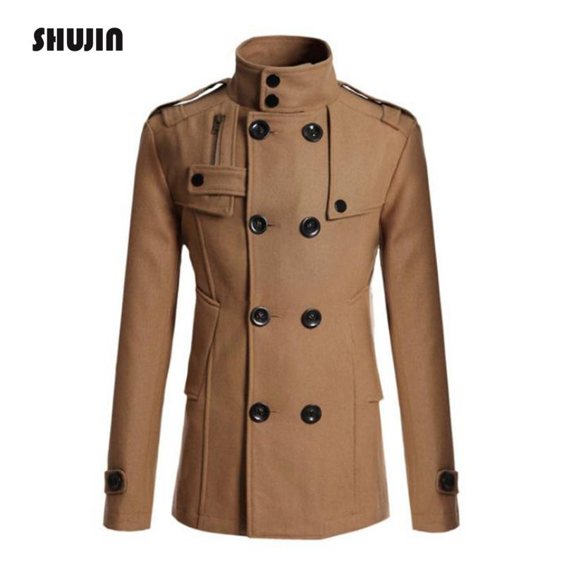 Men's Wool Coat Winter Jacket Man Long Section Overcoat   Trench   Coat Fashion Casual Coat Winter Coat Parka SHUJIN FF