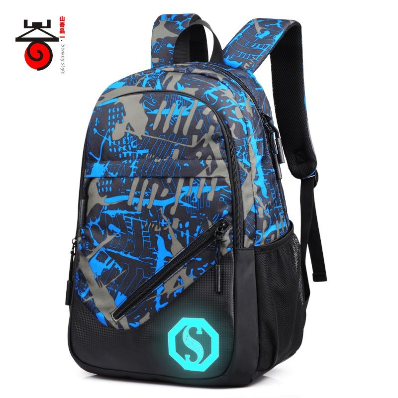 2017 Senkey style Fashion Men s Backpacks Male Casual Travel Luminous Mochila Teenagers Women Student School