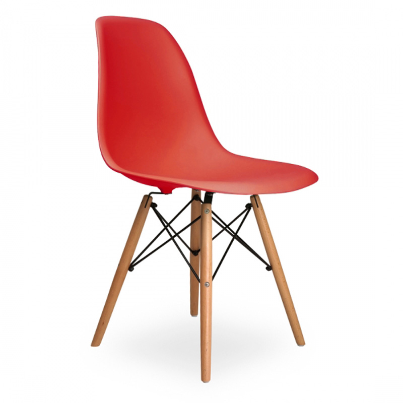 Lot of 4 Side Chairs for Living Room PP Plastic Beech Wood Legs Color Red