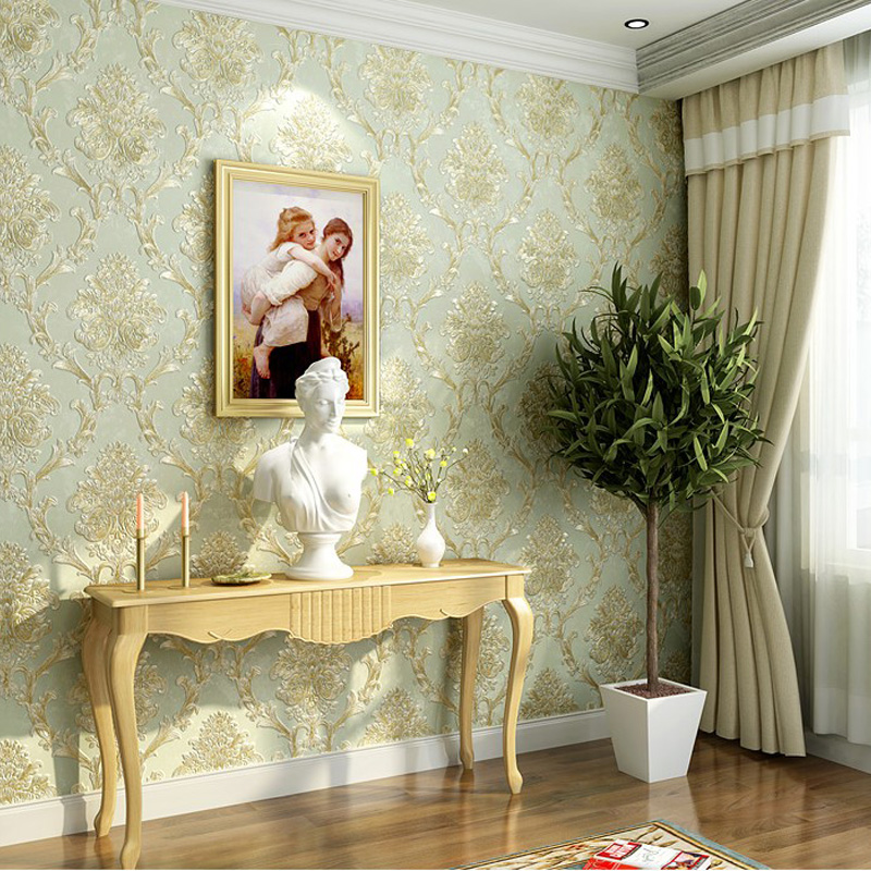 ФОТО Q QIHANG European Style Environmental Protection 3D Non-woven Living Room Bedroom TV Background Wallp aper 10M*0.53M=5.3M2