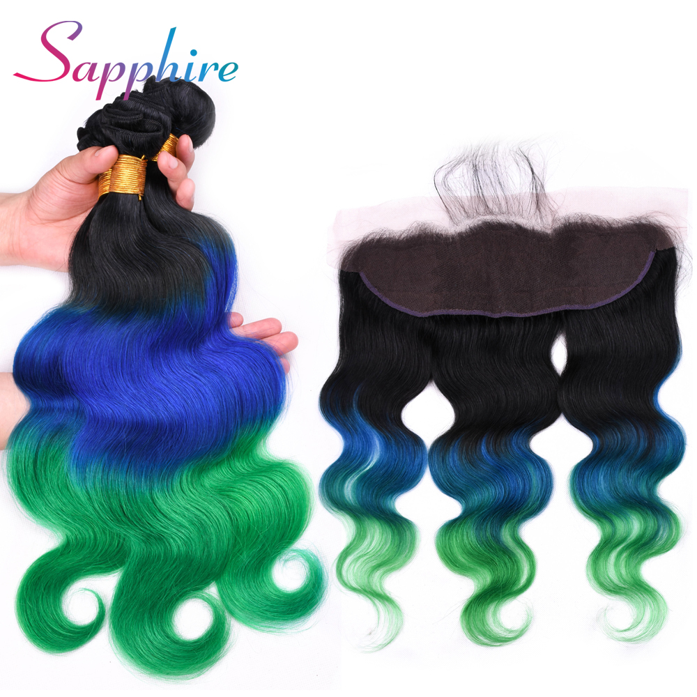 Sapphire Hair Brazilian Body Wave Bundles With Frontal Closure 100% Human Hair 3 Bundles With 13*4 Frontal Ombre Hair Extension