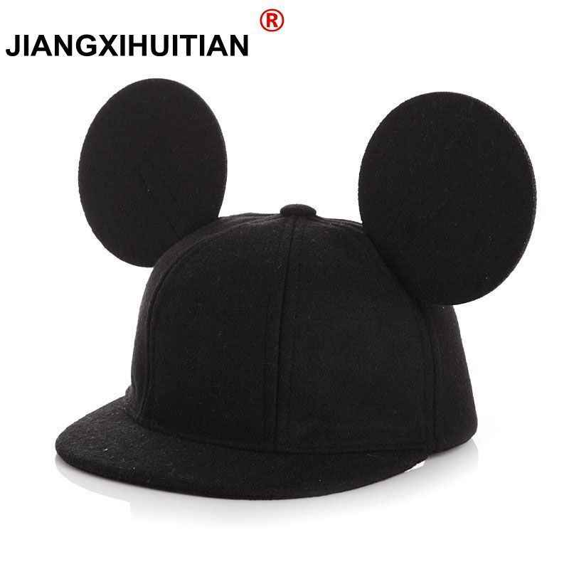 2017 winter Womens Cartoon Cute Big Mouse Ears Snapback Hats dad hat Hip Hop Baseball Caps Female 100% Real wool Hat For Women