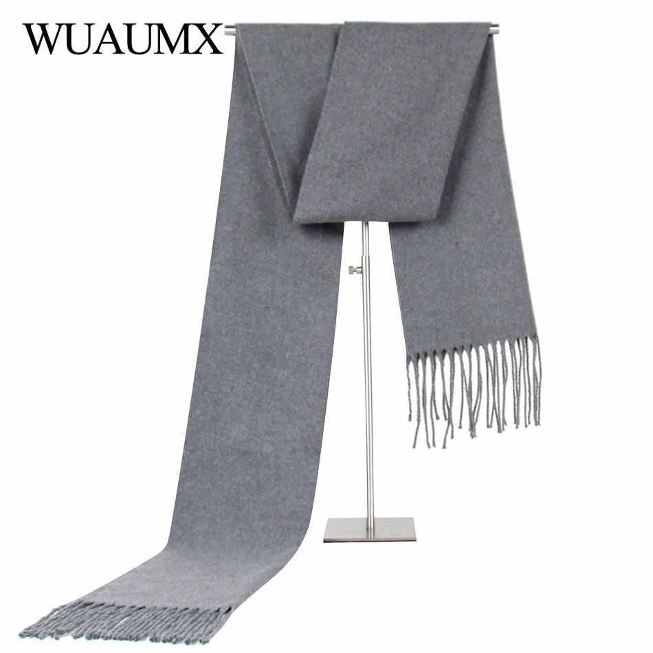 5fb0c7f3e94 Wuaumx Повседневное одноцветное шарф Для мужчин зимние шарфы мужской  имитация теплый шарф из кашемира с Ленточки