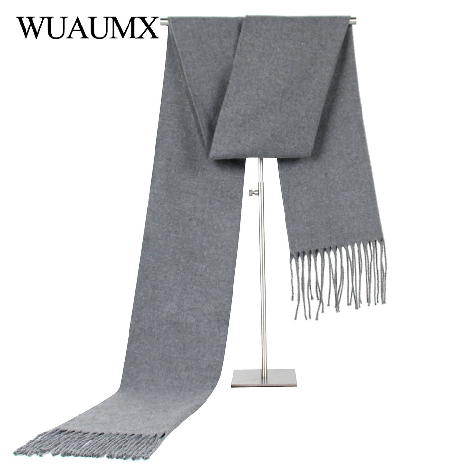 Wuaumx Casual Solid Scarf Men Winter Scarves Male Imitation Cashmere Warm Scarf With Tassels Shawls Neckerchief Echarpe 9colors