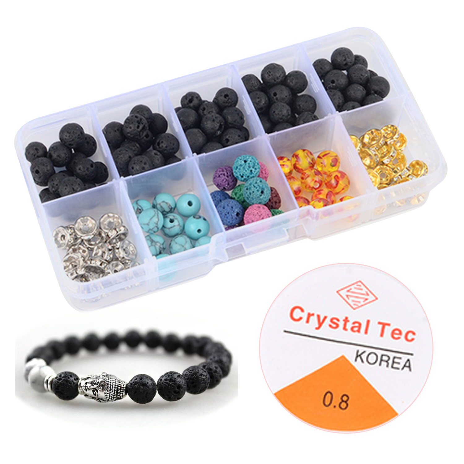170pcs 8mm Creative DIY Toys String Beads Set Lava Stone Volcanic Rock Loose Beads With 1 Roll Crystal String For Jewelry Making
