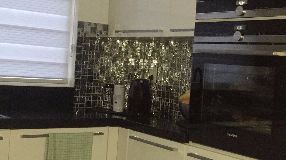 Mosaico in acciaio inox piastrelle tv backsplash della cucina