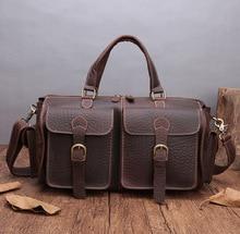 Купить с кэшбэком Luxury Vintage Thicken Natural Cow Leather Men's Travel Bags Small Short Trip Travel Totes Fashion Design Cylinder Gym Bag