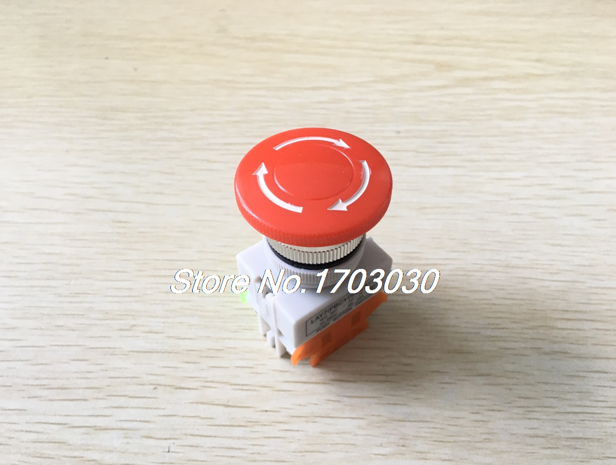 2pcs 660V 10A DPST Panel Mounting Self-lock Red Mushroom Head Emergency Botton Switch 1pc new emergency stop push button switch self locking red mushroom switch 660v 10a