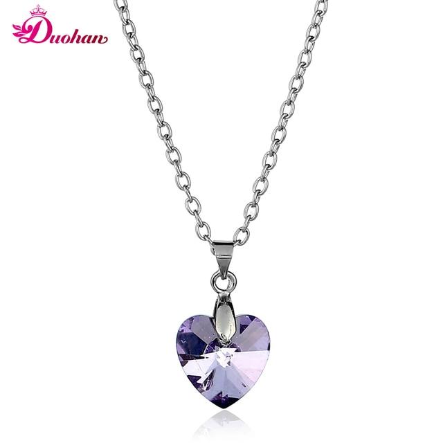 dd4e15e6c274 Moda Austria azul rosa en forma de corazón de cristal colgante collar de  oro blanco