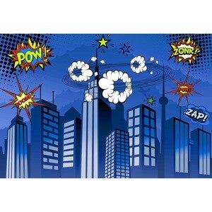 Image 2 - Mehofond 사진 배경 블루 슈퍼 히어로 생일 만화 빌딩 소년 어린이 포스터 배경 사진 스튜디오 Photocall