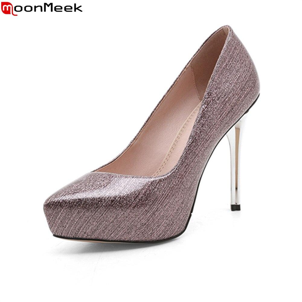 MoonMeek spring autumn platform shoes extreme high heel mature slip on thin heels shallow causal pumps women shoes