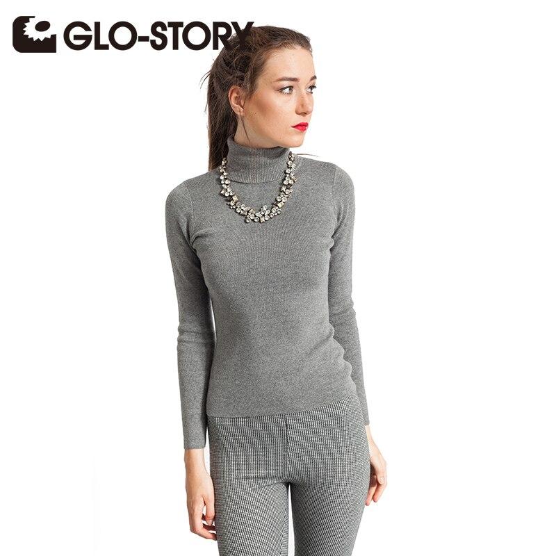 GLO-STORT महिला स्वेटर 2018 नई टर्टलनेक लंबी आस्तीन बुनियादी आरामदायक स्वेटर महिला ठोस बुना हुआ स्वेटर WMY-4273