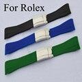 Люксовый бренд 20 мм мужские дайвер силиконовой резины ремешок с матовым развертывания застежка и логотип, Резиновый ремешок для часов для Rolwatch