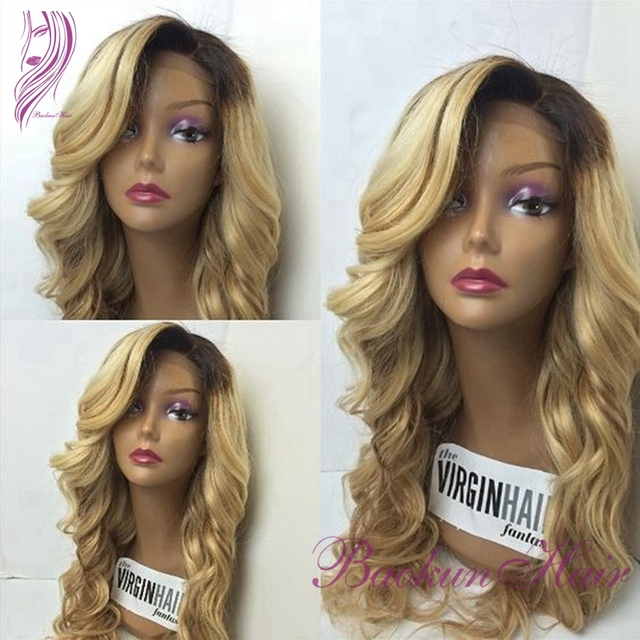 Blonde wig dark roots ombre two tone color natural wave heat resistant synthetic lace front wigs for african american wigs