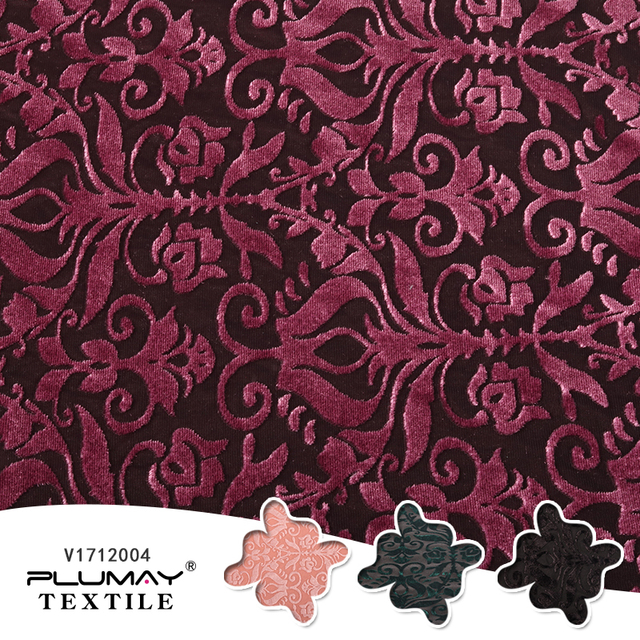 Multicolor Knitted Soft Four Way Stretch Damask Silk Burnout Velvet Fabric For Garment