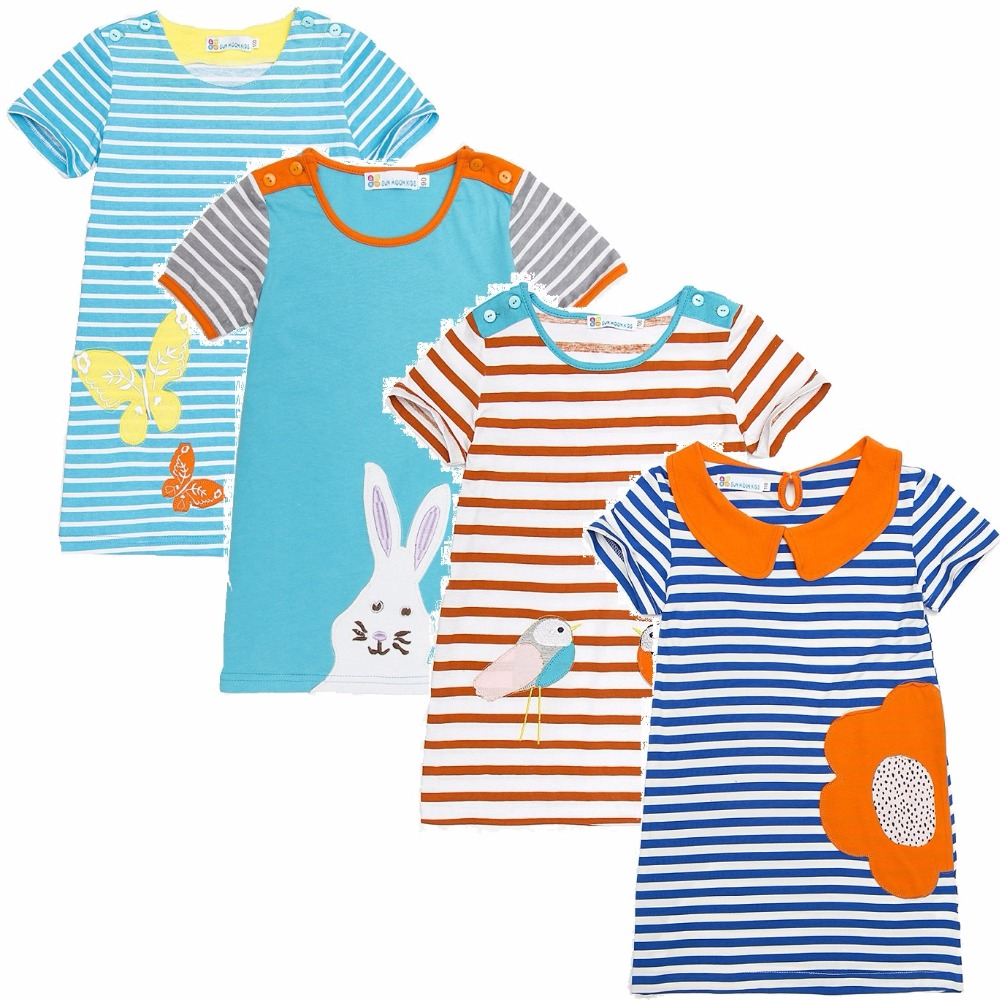 2018 Summer Girl Dress Baby Clothes Shirts Children Jumper Vestidos Soft Striped Kids Dresses 100% Cotton Embroidery Top Quality