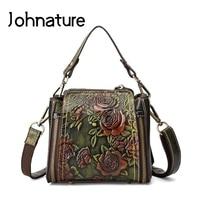 Johnature 2019 New Fashionable Genuine Leather Embossed Vintage Versatile Handmade Women Handbags & Crossbody Bags Bucket Totes