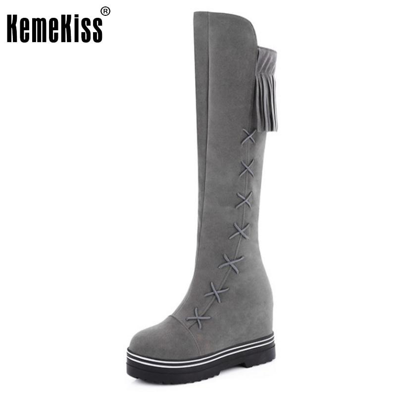 ФОТО New Fashion Women Round Toe Height Increasing Knee Boots Female Cross Strap Botas Tassel Footwear Shoes Woman Size 34-43