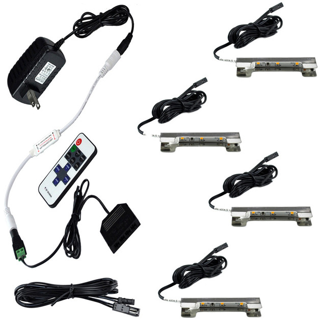 LED Under Cabinet Lights for Glass Edge Shelf Back Side Clip Clamp Strip Lighting 4 Lamps Kit with RF Remote Control and Adapter