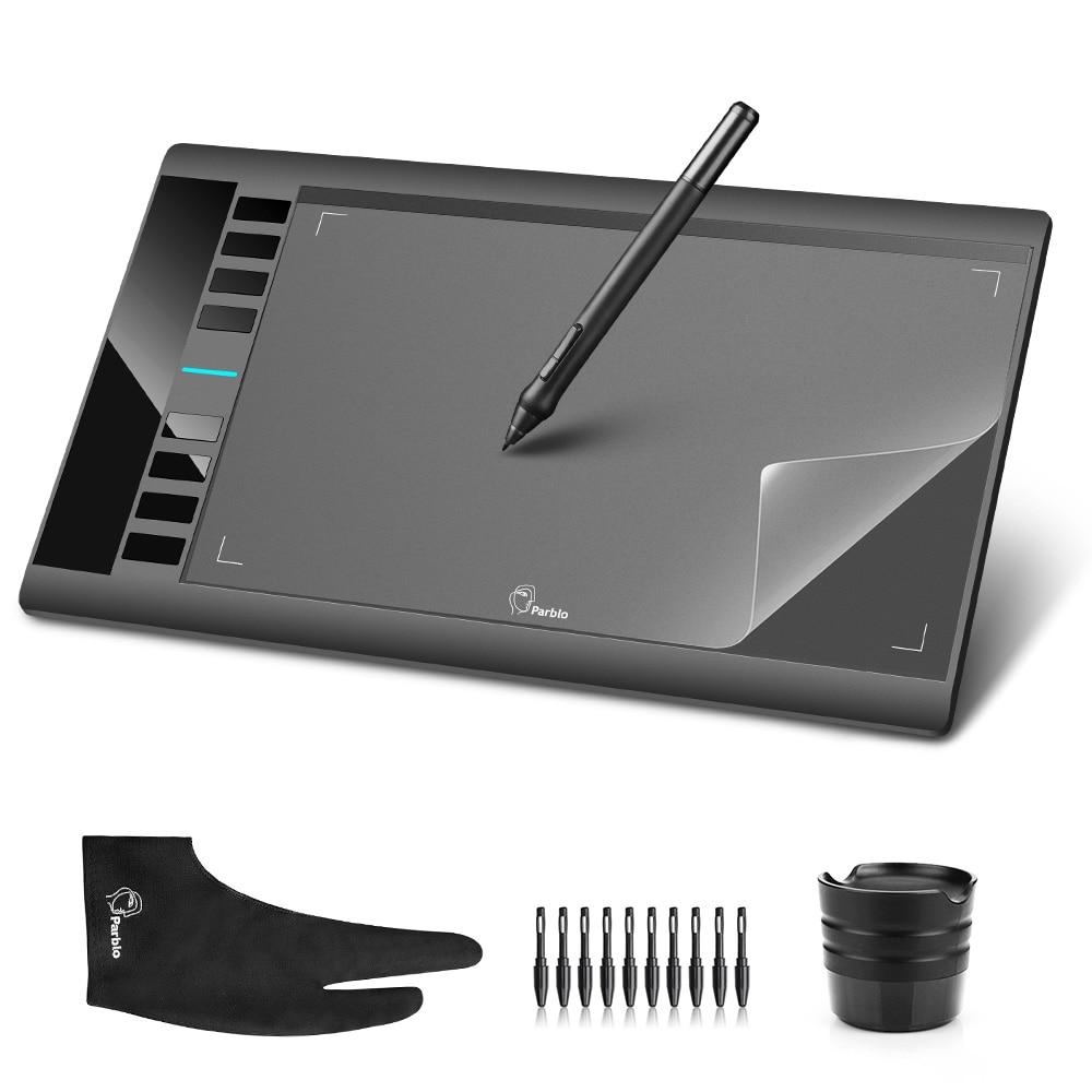 Parblo A610 10x6 Art Graphics Drawing Pen Tablet Tableta Grafica 5080LPI + Protective Film + Glove + 10 Pen Tips