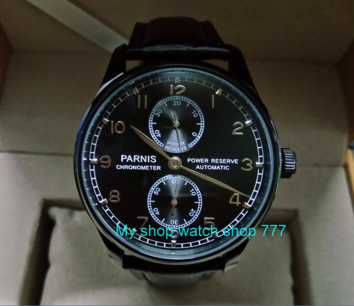 43mm PARNIS power reserve Automatic Self-Wind Mechanical movement men's watch Black dial PVD case Mechanical watches zdgd90a 43mm parnis black dial automatic self wind mechanical movement power reserve mechanical watches men s watch x00066