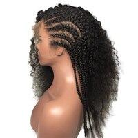 Полный шнурок человеческих волос парики для Для женщин перуанский Вьющиеся Синтетические волосы на кружеве парики предварительно сорвал с