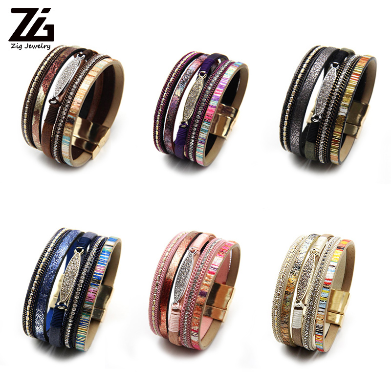 ZG Fashion Women Leather Bracelet Rhinestone Bar Charm Bohemian Leather Female Bracelets in 7 Colors 2