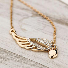 2016 Fashion Women's Charm Jewelry Angel Wings Love Heart Pendant Chain Necklace  NY79 7FTV 89UQ