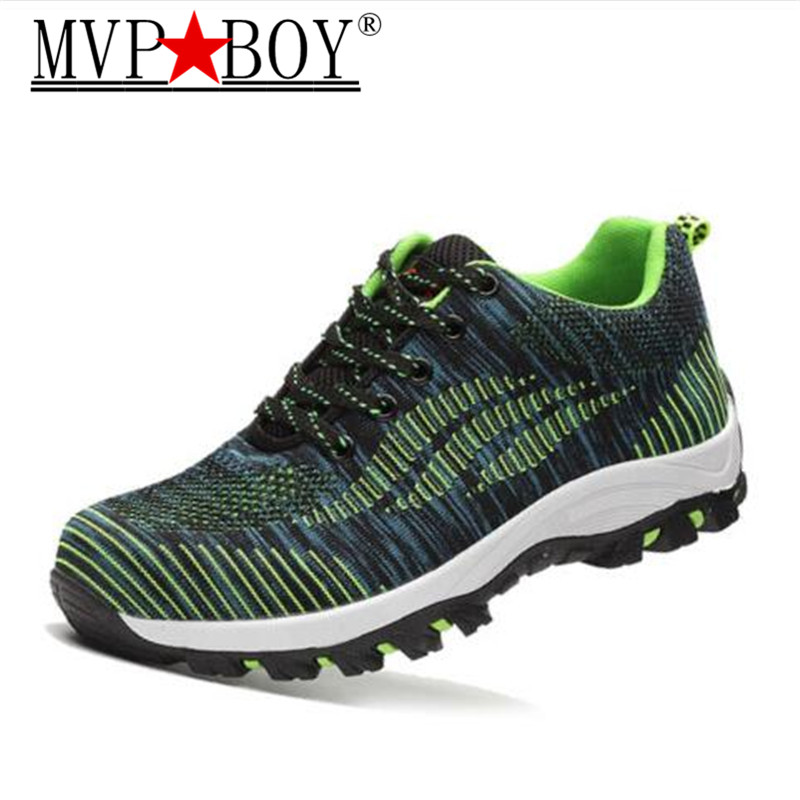 MVP BOY Men Casual Safety Shoes Spring Mesh Lace Up Steel Toe Shoe Men's Puncture Proof Labor Insurance Tenis Work Boots Mens