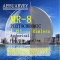 MR-8 1.61 index rimless optical progressive HMC recipe high quality eyeglass lenses special designed Korea style blue violet
