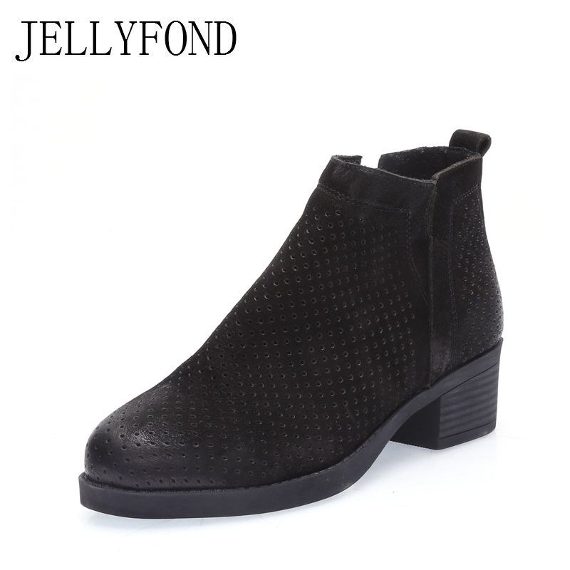 JELLYFOND 2018 Spring Real Leather Cut Out Breathable Ankle Boots Women Vintage Style Chunky Heels Designer Boots Shoes Woman