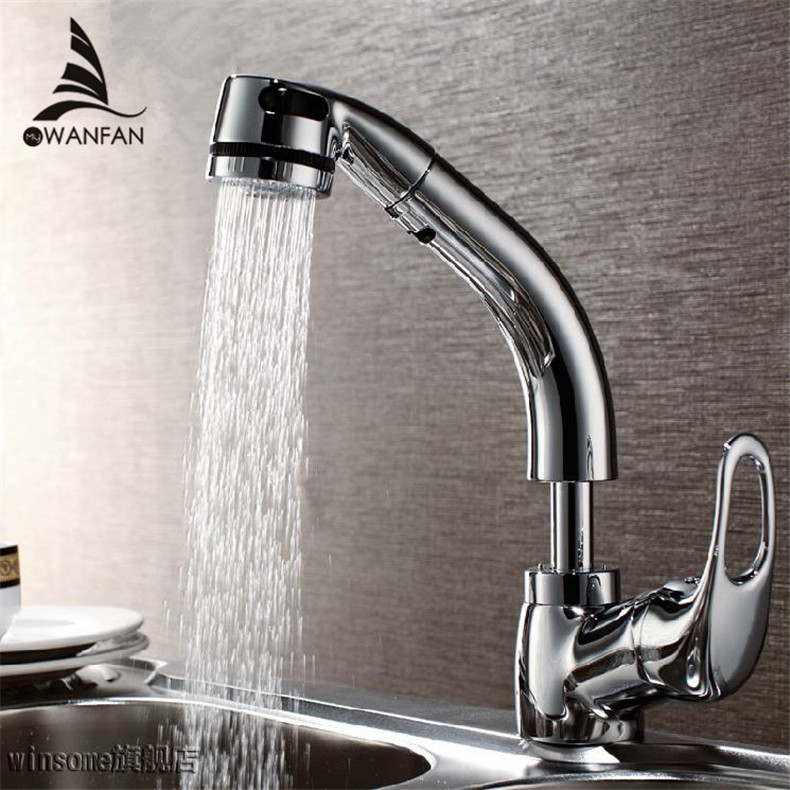 ФОТО 360 degree swivel pull out Stretch kitchen faucet polished, brass chrome kitchen Vessel Sink Mixer Tap faucet G16038