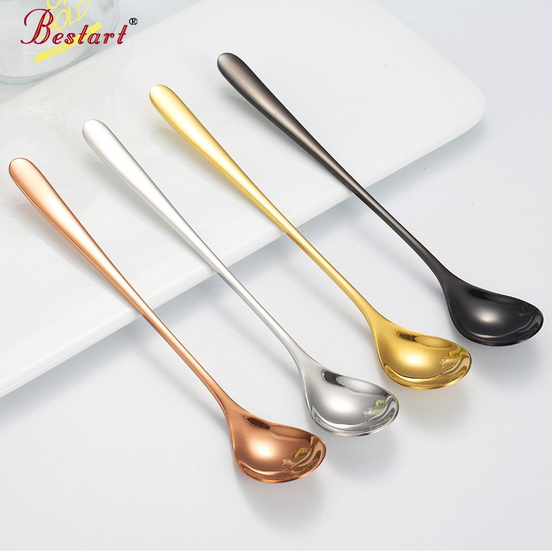 7PCS Colorful Gold Ice Spoon Set Long Handle 304 Stainless Steel Black plated tableware for Coffee Ice Cream Small Desser Spoon