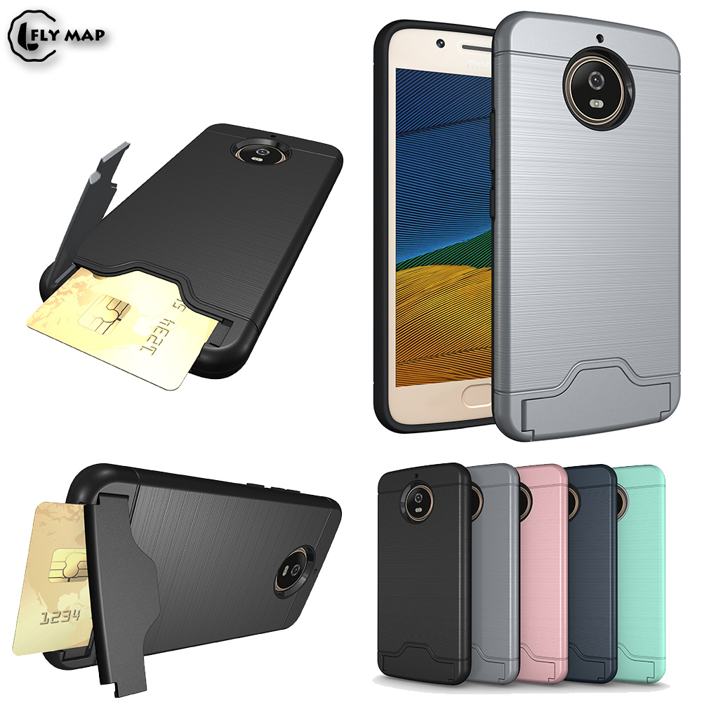 Bracket Card Slot Case Bag for Motorola Moto G5s G5 s XT1792 XT1794 Armor Credit Card Phone Back Cover for Moto G 5s Dual Coque