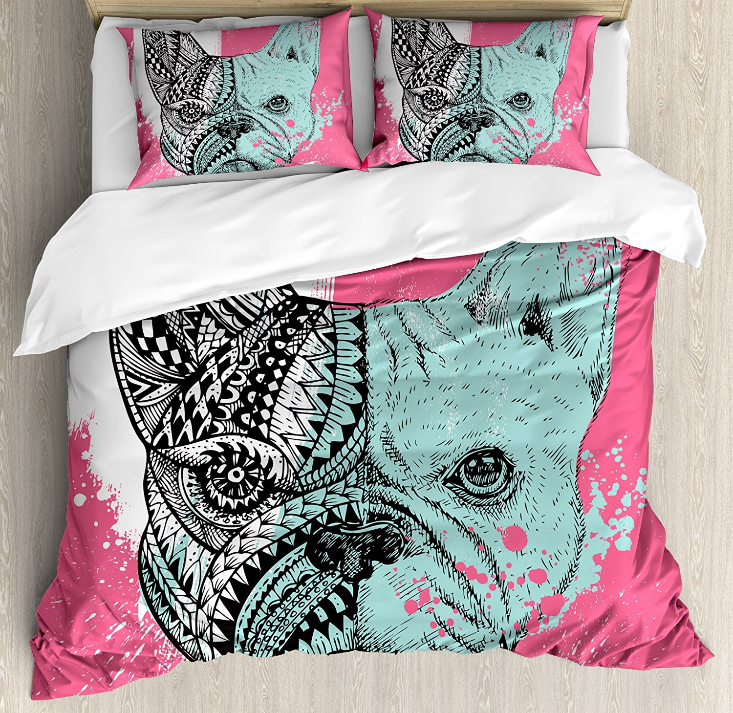Modern Duvet Cover Set French Bulldog Split with Ethnic and Paintbrush Vivid Artwork Pri ...