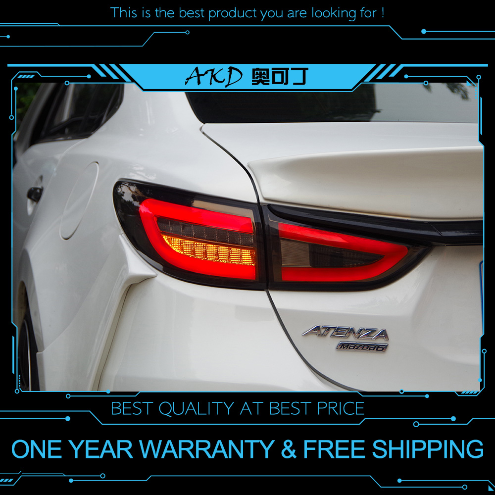 AKD tuning cars Tail lights For Mazda 6 Mazda6 Atenza 2013 2018 Taillights LED DRL Running lights Fog lights angel eyes Rear