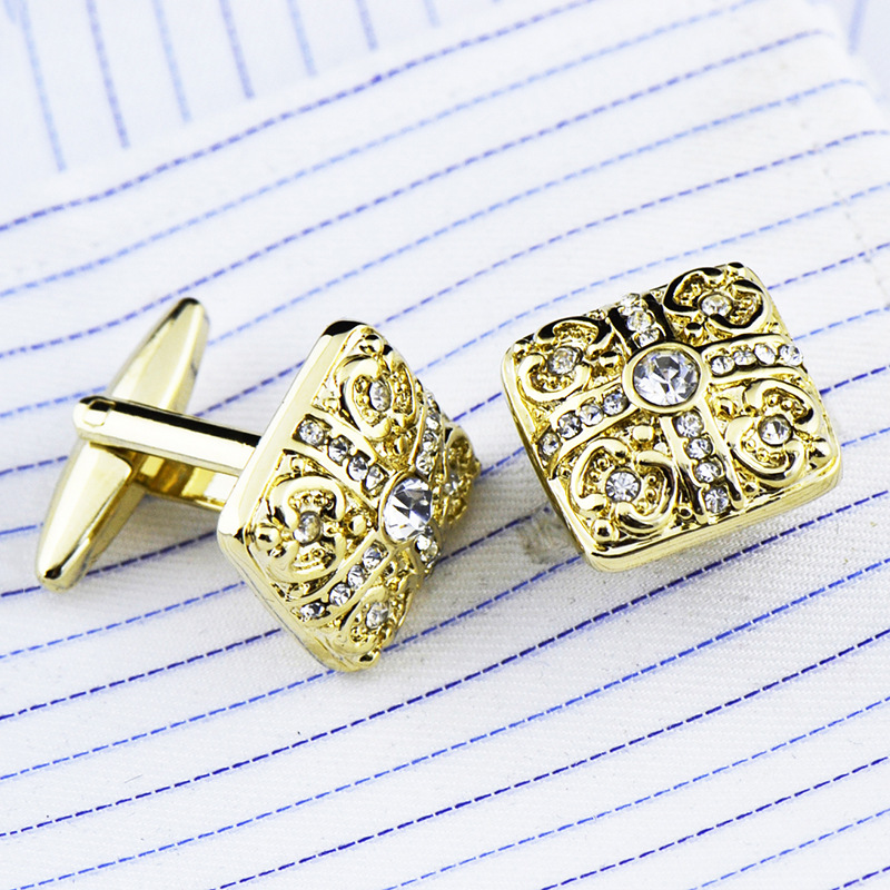 Bridegroom Wedding Party Business French Shirts Cuff Links White Crystal Zircon Crown Cufflinks Golden Cufflink With Gift Bag in Tie Clips Cufflinks from Jewelry Accessories