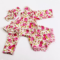 Flower Baby Girls Clothes Autumn Cotton Baby Rompers Long Sleeve Girls Headbands Ruffled Gold Polka Dot