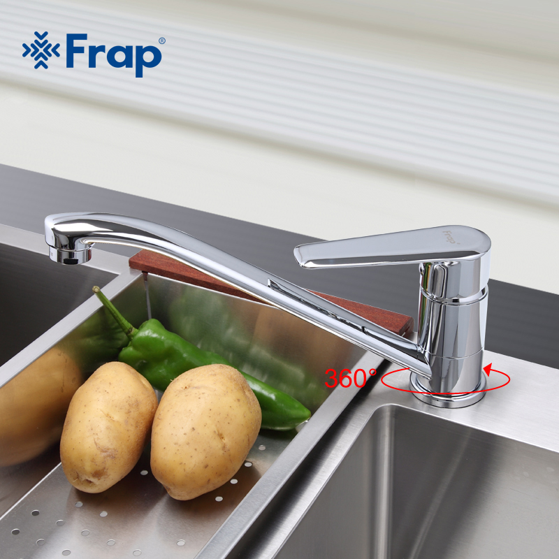 Frap Chrome Finished Kitchen Faucet Cold and Hot Water Mixer Tap Single Handle Torneira Cozinha 360 Degree Rotation F4584 F4984 цены онлайн