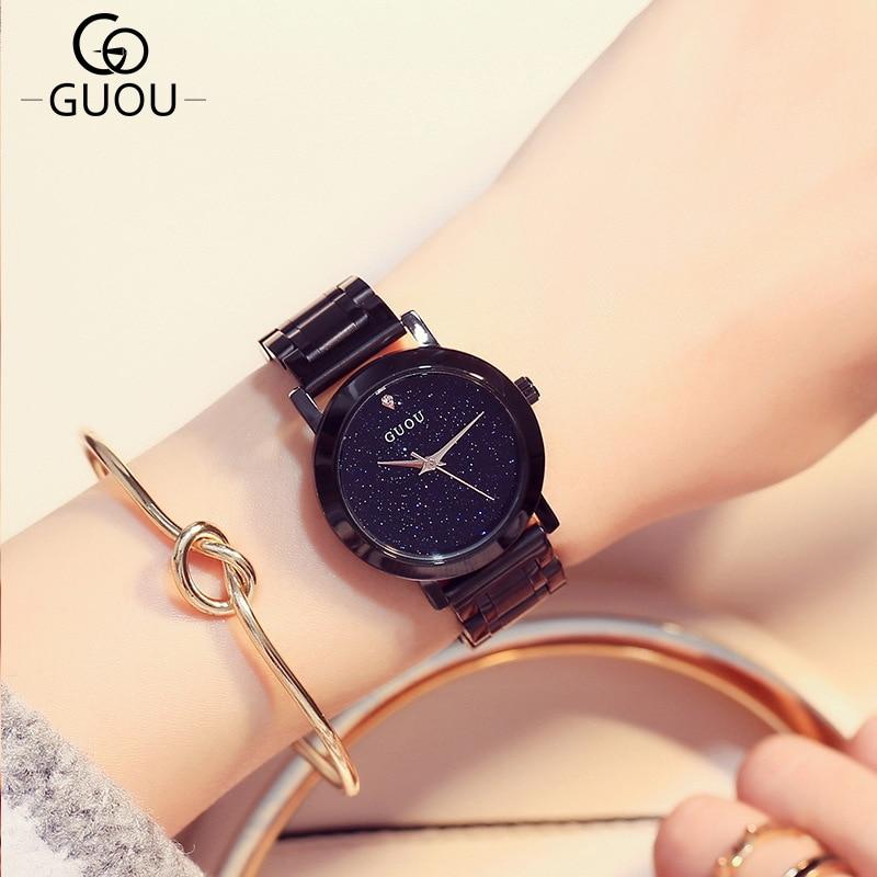 Tabela do presente do relógio de jóias de moda de alta qualidade 2016 novo 5 cor mulheres Relógios Jóia geometria gem cut superfície preta de pulso - 2