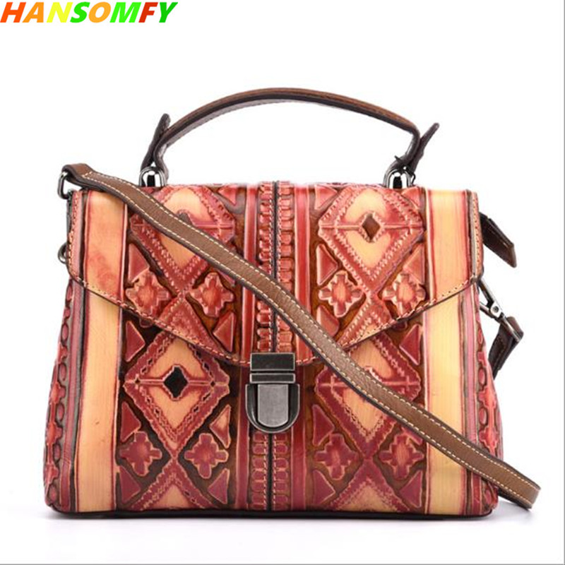 Ladies vintage shoulder bags cow leather embossed continental diagonal women handbags personalized hand-colored female bags