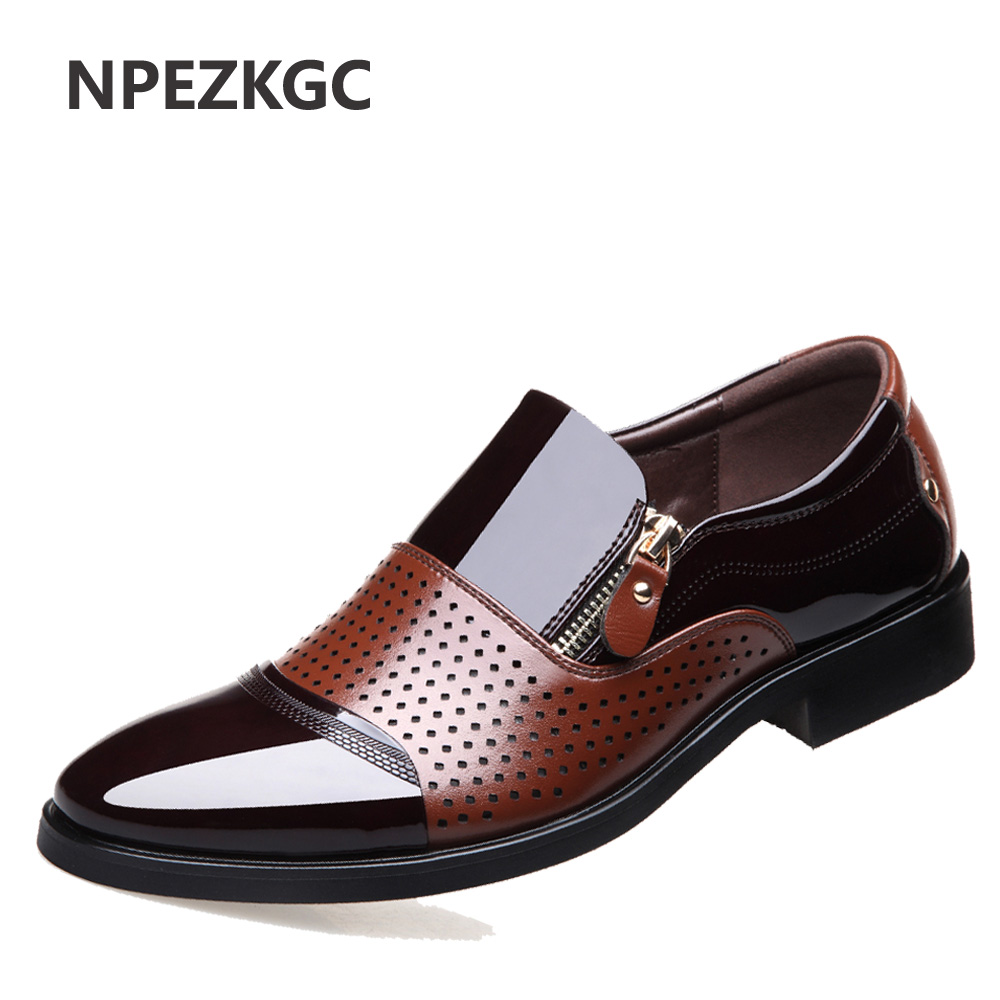 NPEZKGC 2018 Summer Men Hollow Out Men Formal Shoes Men Microfiber Leather Quality Shoes Breathable Men Shoes For Business