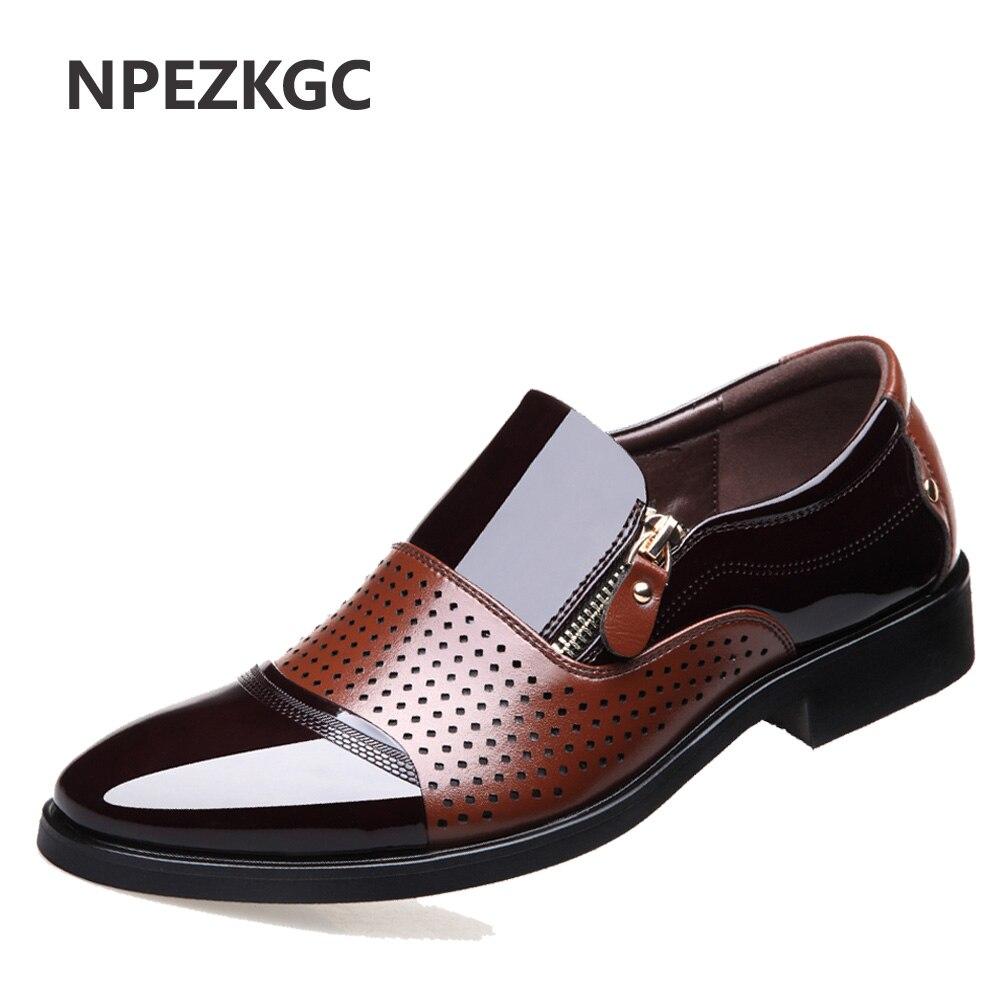 NPEZKGC 2018 Summer Men Hollow Out Men Formal Shoes Men Microfiber Leather Quality Shoes Breathable Men Shoes For Business