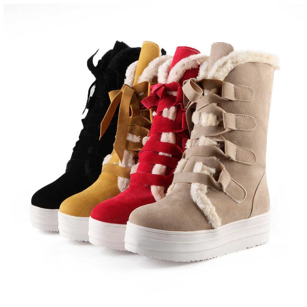 DoraTasia/женская зимняя теплая обувь на меху, женские зимние сапоги до середины икры на толстой платформе со шнуровкой, черный, красный, желтый цвета, большие размеры 34-43