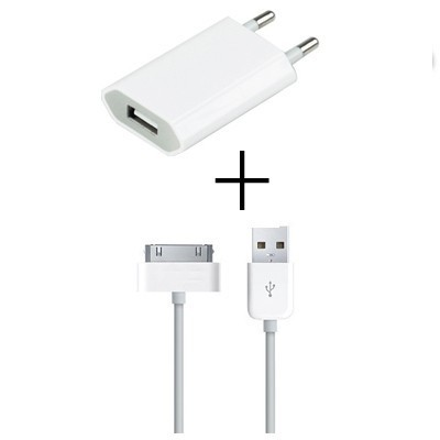 usb wall charger adapter + free 30 pin data cable cabo kabel for apple  iphone 4 a65b02f8168